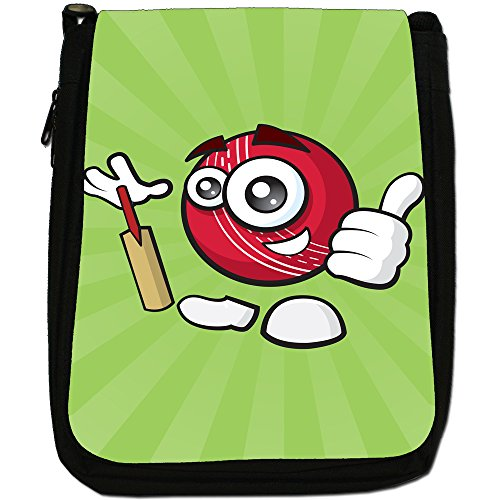 sporticons Happy palloni sportivi Media Nero Borsa In Tela, taglia M Sporticon Cricket Ball & Bat