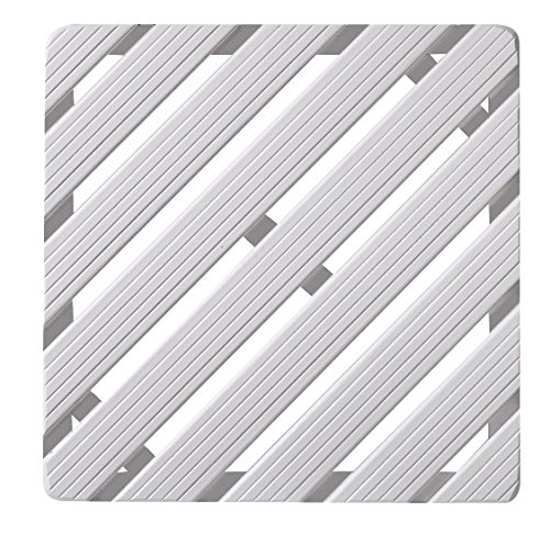 Aris 2109/L BN - Tarima De Ducha Rectangular - De Madera De Gombe - Cm 52x67 Para Plato Ducha Cm 75x85 - Fabricado En Italia - Color Blanco
