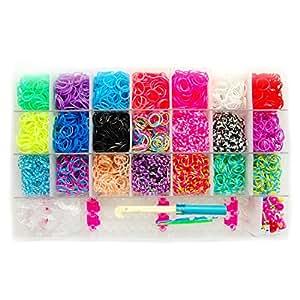 Loom-Gummibänder   Starter-Pack XL   inkl. 4200 Bänder, 170 Clips, süßen Anhängern und Webwerkzeug   Bänder in 21 tollen Farben   trendige Armbänder selber basteln