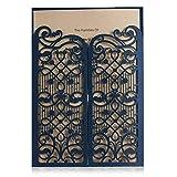 Wishmade 50 Marineblau Hochzeit Einladungskarten mit Lasercut Hohl Design offenen Tür Gastgeschenken für Geburtstag Bridal Dusche 50 Stücke