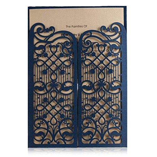 Wishmade 50pz taglio laser partecipazioni matrimonio blu con hollow pizzo fiori inviti di nozze per sposa doccia compleanno party battesimo invito (confezione da 50 pezzi)