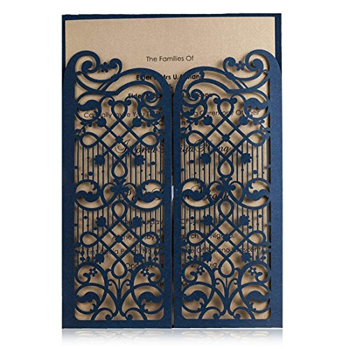 Wishmade Bleu Cartes d'invitation de mariage 50 pièces avec des fleurs en dentelles design Invites...