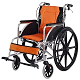 Shisky Folding aluminum alloy wheelchair with front and rear hand brakes for the elderly disabled wheelchair