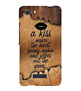 A Kiss Makes The Heart Young 3D Hard Polycarbonate Designer Back Case Cover for MIcromax Canvas Unite 3 Q372