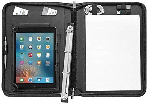 Wedo 586941 Tablet Organizer Accento A4 , Universalhalter für 9,7 - 10,5 Zoll, Kunstleder, 4-Ring-Mechanik, herausnehmbarer Halter, Präsentationsständer, Reißverschluss,  mehrere Fächer, inkl. Schreibblock, schwarz