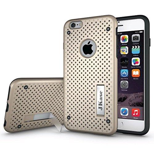 JKase MESH Hybrid Umrahmung Harte 2 Schichten Case Hülle TPU Innencase Mit Seitenständer für Apple iPhone 6S Plus / iPhone 6 Plus (Rot) Gold