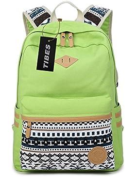 Tibes Vintage Segeltuch Schule Rucksack für Mädchen / Frauen