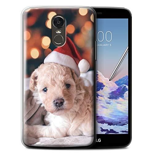Stuff4® Gel TPU Hülle/Case für LG Stylus 3/Stylo 3/K10 Pro/Netter Hund Roter Hut Muster/Weihnachts Festliche Jahreszeit Kollektion -