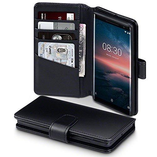 Terrapin, Kompatibel mit Nokia 8 Sirocco Hülle, [ECHT LEDER] Brieftasche Case Tasche mit Standfunktion Kartenfächer und Bargeld - Schwarz