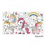 nikima - 086 Wandtattoo Einhorn Regenbogen Kinderzimmer Deko - in 6 Größen - niedliche Kinderzimmer Sticker und Aufkleber süße Wanddeko Wandbild Junge Mädchen Größe 1250 x 700 mm
