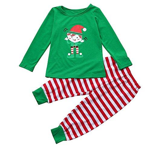 (Kleider Kinderbekleidung Honestyi Weihnachten Familie Kid Boy Girl Pyjamas Nachtwäsche Nachtwäsche Zweiteilige Outfits (Grün,100-130))