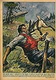 Nella campagna intorno ad Albona (Istria) si stava svolgendo una battuta di caccia quando d'un tratto una lepre, spaventata dalle grida dei battitori andava a sbattere contro il volto di un contadino