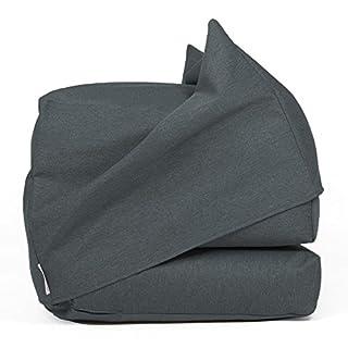 Arketicom FU-TOUF Soft Folding Bed Mattress Footstool Bed for Living Room Guest Pouffe Design Polystyrene Beans 63x 63x 45/190x 63x 15 Grey
