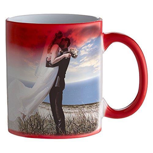 Zaubertasse mit Fotodruck - Rote Magic Foto Tasse mit Farbwechseleffekt - persönliche Geschenkidee selbst gestalten - Kaffeetasse Kaffeebecher mit Thermoeffekt und eigenem Bild