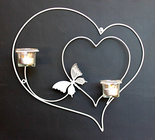 DanDiBo Wandteelichthalter Herz 39 cm Weiß Teelichthalter Metall Wandleuchter Kerze