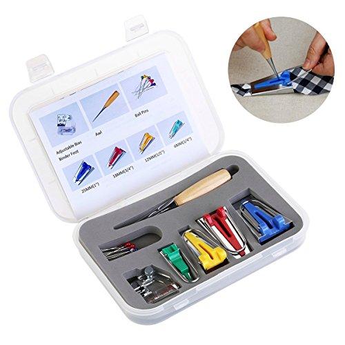 icase4u® kit para fabricar cintas de tiras al bies para máquina de coser punzón + alfileres + cuatro adaptadores de diferentes tamaños + prénsatelas para coser bies (CY-BTM-S1)