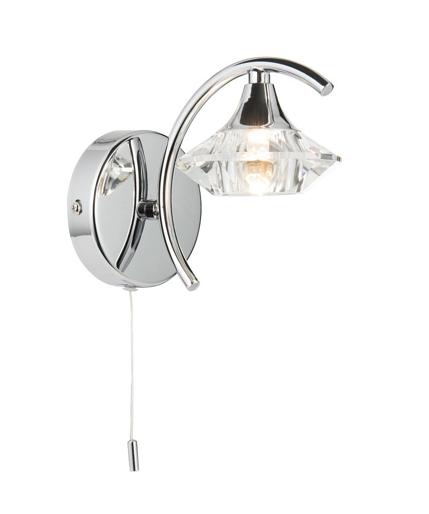 vegas modern ceiling and wall lights in polished chrome with crystal sconces single wall light amazoncouk kitchen u0026 home