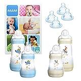 MAM Essential Bottle Set, cadeau bébé avec 2 biberons Easy Start anti-colique (260mL) & 2 corps de biberon (320mL), kit bébé dès 2 mois avec 2x2 tétines (taille 3 & X), garçon