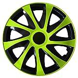 (Größe wählbar) 14 Zoll Radkappen / Radzierblenden DRACO Bicolor (Schwarz-Grün) passend für fast alle Fahrzeugtypen – universal