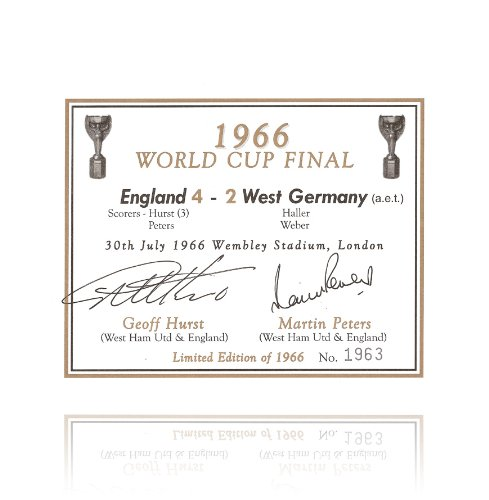 Sir Geoff Hurst & Martin Peters Hand Signed Champagne Label - 1966