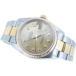 Diamond dial Rolex datjust men watch SS & gold bracelet fluted bezel