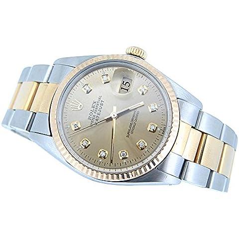 Diamond Dial Rolex datjust uomini guardare SS & braccialetto d'oro lunetta zigrinata