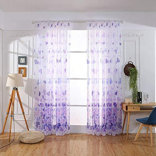 Jiji886 tende tulle tende voile a forma di cuore stampa due pezzi moderno lavabile (larghezza x alto) 100 x 200 cm tendaggio per decorazione salotto camere bambini cameretta (viola, 100 x 200 cm)