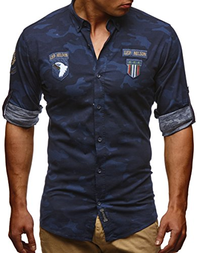 LEIF NELSON Herren Hemd Trend Camouflage Langarm Kurzarm Freizeit Army Blau