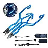 Womdee - Luci per Casco da Moto, 4 Pezzi, Impermeabili, per Guida Notturna, luci LED Lampeggianti Blue