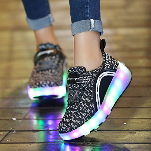 LILY999 Junge Mädchen Mit Rollen Sneaker Led Farbwechsel Schuhe Skateboard Rollschuhe für Unisex-Kinde Schwarz