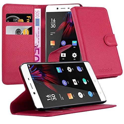 Cadorabo DE-105707 OnePlus X Handyhülle mit Kartenfach & Standfunktion Rot
