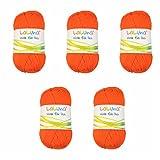 5er Pack Uni Wolle orange 100% Polyacryl Wolle 250g, Garn zum Stricken & Häkeln, Marke: LaLuna®