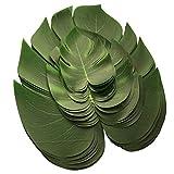 36 Pièces Feuilles Artificielles de Monstera Feuille Faux Vert pour Décoration Fête Soirée(12pcs Grand+12pcs Medium+12pcs Petit)