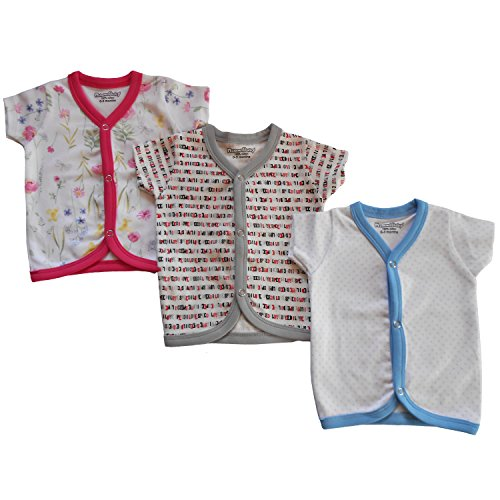 NammaBaby Cotton Front Open Half Sleeves vest- Tshirt -Multi PRINT Set Of 3 (0-3 months)