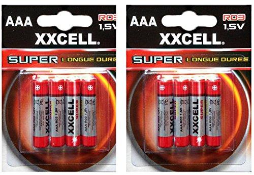 Lot de 8 piles AAA XXCELL Super longue durée 1,5 V R03