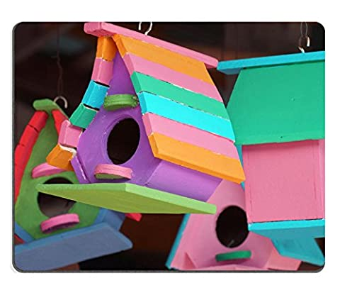Luxlady Mousepads colorful birdhouse IMAGE 21302336 Customized Art Desktop Laptop Gaming mouse Pad