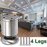 4 pz Mobili in metallo Gamba Divano Leg armadietto Piedi guardaroba per Mobili per la casa - Rubber Mat - Sicuro e silenzioso 50 x 80mm