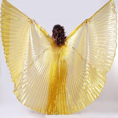 Baoblaze Lucenti Pancia Costume di Ballo Ali di Iside - Oro - Dorato, 147 cm