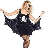 OverDose Damen Spuk Haus Stil Frauen Halloween Spinne Uniform Bat Mantel Klammer Schädel Narben Party Clubbing Cosplay Minikleid