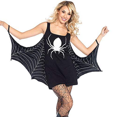 MAYOGO Halloween Deko Spinnennetz,Halloween Damen Fledermaus Kleid mit Spinnennetz Drucken Karneval Kostüm Gothic Partykleid Korsagenkleid
