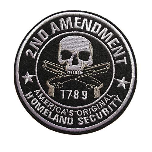 Homeland Security 1789 Aufnäher Totenkopf mit Pistolenpistolen, bestickter Verschluss, Haken und Schlaufe B-Iron/Sew on Skull -