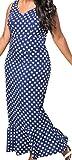 erdbeerloft - Damen Plussize Maxikleid mit Rüschen, 56, Blau-Weiß