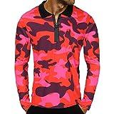 BaZhaHei Herren Langarmshirt Männer Reißverschluss Camouflage Langarm Pullover Classic Shirt Top Bluse Tarnung Lange Ärmel Reißverschluss Mantel