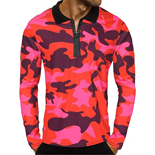 BaZhaHei Herren Langarmshirt Männer Reißverschluss Camouflage Langarm Pullover Classic Shirt Top...