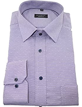 Eterna Herrenhemd Herren Hemd Businesshemd Freizeithemd Baumwolle Langarm Comfort Fit Violett kariert Gr. L/42