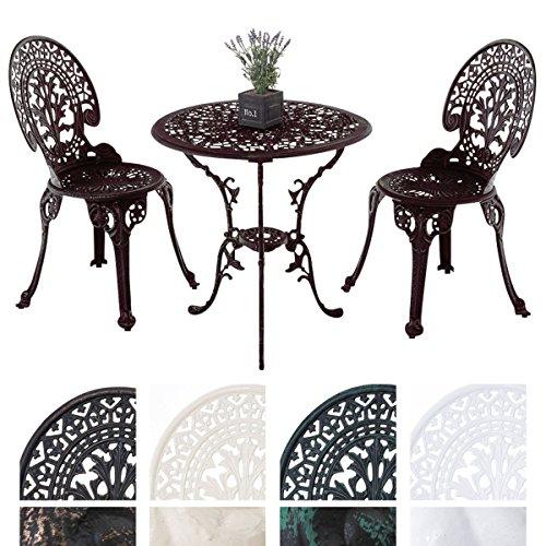 CLP Garten Sitzgruppe VISHNU, Guss-Eisen, Design nostalgisch antik, Tisch rund Ø 65 cm + 2 Stühle bronze