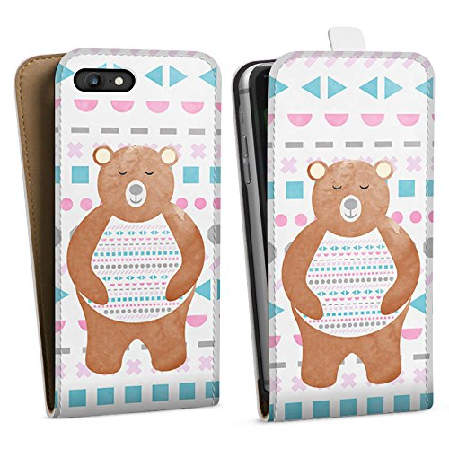 Apple iPhone X Silikon Hülle Case Schutzhülle Bär Muster Bärchen Downflip Tasche weiß