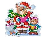 Unbekannt XL Fensterbild - Teddy Sänger Weihnachten Weihnachtsbaum GLITTER Glitzer - Sticker Fenstersticker