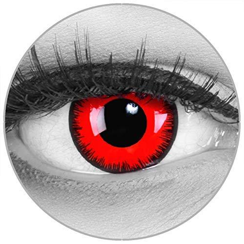 Funnylens Farbige Kontaktlinsen Red Lunatic rot schwarzer Rand Teufel weich ohne Stärke 2er Pack + gratis Behälter – 12 Monatslinsen - perfekt zu Halloween Karneval Fasching oder Fasnacht