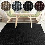 casa pura Jute Teppich Webteppich aus Naturfaser | Moderner Juteteppich | Natürliche Sisal Optik für Wohnzimmer, Esszimmer und Flur | Große Auswahl | Schwarz - 140x200 cm